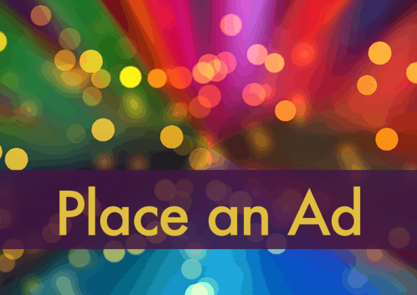 "The words ""place an ad"" on a background of colorful diffused lights"