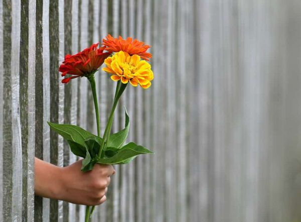Hand extended with flowers
